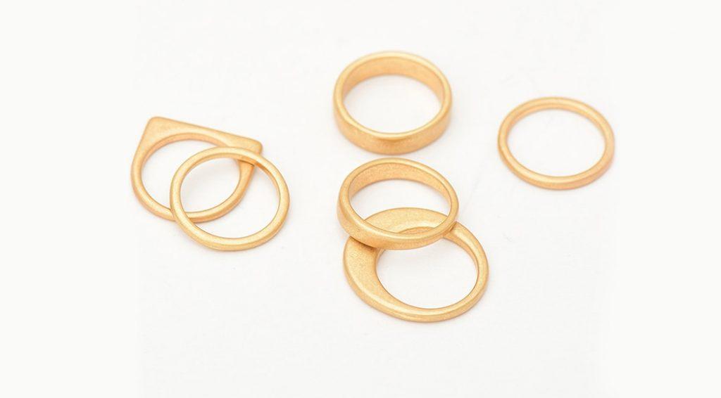 bague multi anneaux or
